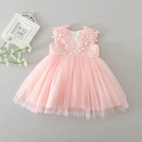 Wholesale Pink Dresses For Babies - 2016 New Newborn Baby Girls Princess Dress Birthday Party Formal Christening Gown Lace Dress for 0-24 Months 1782