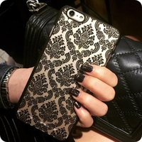 Wholesale Hard Leather Pouch Patterns - Hot New Luxury Hard Plastic Case For iphone 6 6S 7 6 Plus 6s Plus Damask Vintage Flower Pattern Cover Case For iPhone 7 Plus