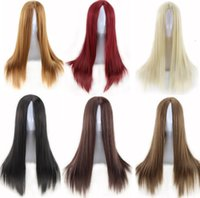 Wholesale long wave costumes hair - 1PC moustache costume Synthetic Hair Long Straight Black Blonde Brown Red Cosplay Anime Wig Perruque