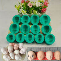 Wholesale Silicone Molds Faces - 13Pcs Lot Dolls Face Silicone Fondant Mould Cookies Dessert Cookies Molds Kitchen Bakery Baking Decorating Utensils Houseware Tools