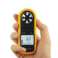 termómetro de velocidad del viento al por mayor-Alta calidad GM816 Medidor Termómetro Aire Viento Velocidad Velocidad MeterLCD Digital Mini Anemómetro Envío Gratis