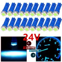 50 Pz DC 24V Ice Blue Car T5 5050 1SMD Lampadine a LED 74 17 18 37 70 73 2721 Per Auto Camion SUV Gauge Cluster Cruscotto Strumento Lampade