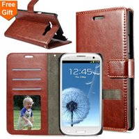 Wholesale Rhinestone Phone Cover Galaxy S3 - For Samsung Galaxy S3 i9300 Retro Crazy Horse Pattern Flip Wallet PU Leather Case FOR SAMSUG S3 Card Holder Phone Bags Cover