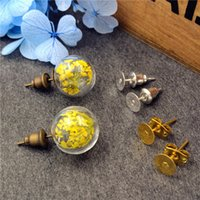 Wholesale Glass Dome Stud Earring - 10sets lot 12mm empty glass globe ball bottle 3.5mm mouth & earring base set glass earring charms glass dome cover DIY findings supply
