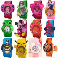 Wholesale Hot New Cartoon Watch - 2017 New Fashion mixed style Cartoon Watch Children Silicone Quartz WristWatch Slap Cute Gift hot Sale 1pcs
