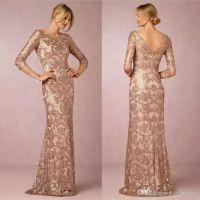 gelin elbisesi gül toptan satış-2018 Tasarımcı Zarif Gül Altın Sequins Aplike Anne Gelin Elbiseler Ucuz Akşam Parti Elbise Örgün Düğün Konuk Törenlerinde