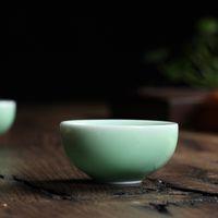 Wholesale Chinese Porcelain Tea Cups Wholesale - Wholesale-6pcs Brother Kiln Chinese Longquan Celadon Porcelain Kung Fu Teacups Saucer Tea Bowl 35ml China Transparent Tea Pot Coffee Cup