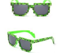Wholesale Mosaic Wrap - Vintage Pixel Mosaic Plaid sunglasses fashion men women CPU Bit Low Resolution Pixelated Sunglasses UV400 Party Fancy Dress props event gift
