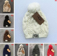 Wholesale Crochet Muff - Knitted Hat Knit Beanie With Pom Pom Crochet Winter Beanies Chunky Cable Caps 8 Colors