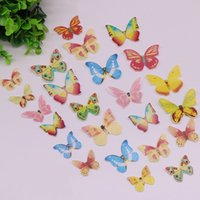 Wholesale butterfly wedding toppers - Cake Butterfly Topper Wafer Glutinous Rice Paper Edible Wedding Birthday Party Cupcake Artistic Decor Supplies Hot Sale 5yz F R