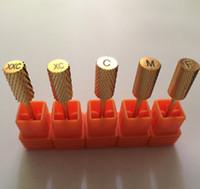 Wholesale Good Nail Drills - Wholesale-free shipping good quality 20pcs lot Pro nail drill tool- Gold Carbides Bit, nail tools