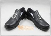 Wholesale Ciel Shoes - Wholesale-Black Butler Ciel Phantomhive black flat ver cos Cosplay Shoes Boots shoe boot #JZ1628 anime Halloween Christmas