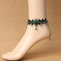 Wholesale Belly Dancing Anklets - Lolita Belly Dance Lace Ankle Anklet Ladies Foot Jewelry Prom Party Bridal Wedding Beach Party Foot Bracelet Barefoot Sandals