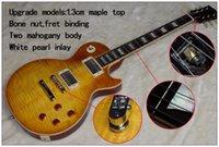 ingrosso corpo della chitarra elettrica dell'acero della fiamma-Personalizzato guitare limone scoppiò vincolante Chitarre Elettriche Vecchi Rod del fascio Fret ABR-1 Bridge, fiammato 1.3cm Maple Cap Due Mahogany chitarre di corpo