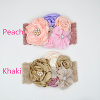 Wholesale Chiffon Shabby Flowers Pearl - Satin Flower Headband Matching Sparking Rhinestone Pearl Rosette Shabby Chiffon Flower Lace Hairband Photography Props 10pcs lot QueenBaby