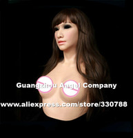 Wholesale Silicone Breast Crossdress - Wholesale- [ SF-A3] Top quality female silicone masks halloween, crossdress silicone breast forms, full face masquerade masks for men