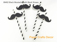 Vente en gros (Pailles incluses) Funny Black Cardstock Moustache Paper Straw Flags Lovely Wedding Birthday Party Decorations