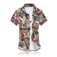Wholesale Japanese Floral Shirts - Wholesale-2016 Summer Mens Casual Shirts Short Sleeve Japanese Original Style Gold Floral Print Cotton camisa masculina Plus Size