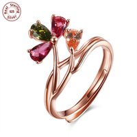 Wholesale Roses Multi Colored - 100% Solid 925 Sterling Silver Adjustable Ring 18K Rose Gold Plated with Prong Setting Multi-colored Cubic Zirconia Floral Design R091