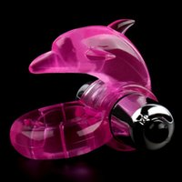Wholesale Stretchy Vibrating Cock Rings - New Dolphin Reusable Vibrating Penis Ring, Silicone Jelly Cock Ring, Stretchy penis rings with Clitoris Vibrator, Sex Toys for Men