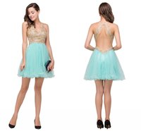Wholesale Tulle Dresses Only - Only 49.9$ Mint Green Mini Short Homecoming Dresses Lace Appliqued Beaded Crystals Sexy Open Back Formal Party Cocktail Prom Dresses CPS356