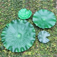 Wholesale Leaf Ornaments Wholesale - 28 cm Garden Home Decor Artificial Flower Lotus Leaf EVA Material Fish Tank Water Pool Decorations Green Plant Craft Ornament Free Shipping