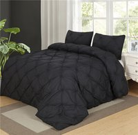 Wholesale Pinch Pleats - Wholesale- Luxurious Duvet Cover Set Black Pinch Pleat 2 3pcs Twin Queen King Size Bedclothes Bedding Sets (no filling no sheet )