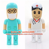 Wholesale Doctor Usb Flash Drive - Doctor nurse model Plastic usb flash drive 4gb 2gb 16gb 8gb 1gb pen drive memory storage usb stick u disk