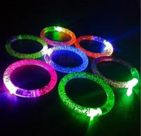 Wholesale Asian Wholesale Led - LED Flashing Wristbands Teenagers Bracelets Lights Flashing Glow Wristbands Outdoor Luminous Reflective Acrylic