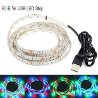 5V LED USB Light impermeável SMD3528 Strip Light RGB 0.5m 1m 2m 3m 5m Flexible Tape Ribbon Rope TV Relâmpago de fundo Stripe