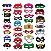 Wholesale Multi Layer Mask - 20PCS Halloween Kids Masks Half Face Multi Styles Felt Cloth Superhero Batman Spiderman Masks Hand Masks Children Party Mask 2 Layer