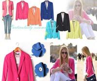 Wholesale Wholesale Women Office Suits - Women Suits Blazers Candy Color Button Blazers Jacket Coats OL Jacket Outwear Feminino Coat Suits Fashion Office Blazers Clothing Free Shipp