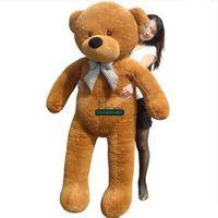 osos de peluche pies al por mayor-Dorimytrader 5.9 Pies enorme felpa tamaño de la vida muñeca del oso marrón 180 cm Brown oso de peluche de juguete Niza bebé presente envío gratis DY61048