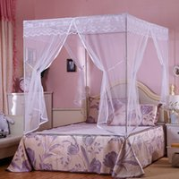 Wholesale Three Door Royal Mosquito Nets - 1.5*2m Mosquito Net Bed Net Mosquito Curtain Square Shape Bed Nettings 3 Openings Royal Style Bedding Nets
