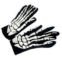 Free Size Halloween Supplies All Saints Day Props Ghost Clothes Passende Handschuhe Scary Skeleton Tuch Solid Handschuhe Halloween Kostüme Dekor