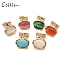Wholesale Arty Rings - 2017 Fashion jewelry women arty cocktail ring opal stone mood ring bijoux multi-color gold plating alloy nice gift