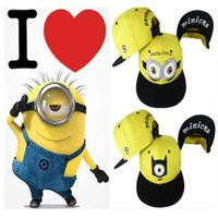Wholesale Despicable Minion Dave Plush - Despicable Me Hat Minions Plush Hats Jorge Dave Stewart Cosplay Cap Despicable Plush Hat Christmas Gift snapback hats caps J120906# DHL