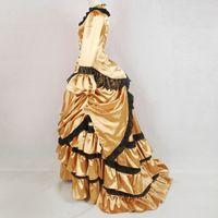 vestido de nobre ouro mulheres venda por atacado-Personalizado Noble Gold Noble Vintage Bustle Estilo vestido de Baile Medieval Renascentista Gótico Vitoriano Vestido de Festa Trajes Históricos Para As Mulheres