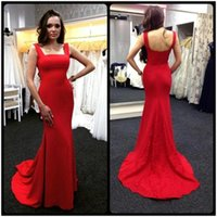 Wholesale Sheath Column Square Chiffon Lace - 2017 Evening Dresses Sexy Sleeveless Spaghetti Strap Red Formal Prom Gown Mermaid Lace Sweep Train Long Chiffon Evening Party Dresses