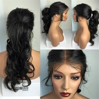 Wholesale Long Brown Wig Ponytail - Unprocessed high ponytail full lace wig Peruvian glueless full lace curly human hair wigs lace front wigs with baby hair