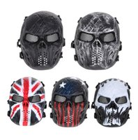 Wholesale Paintball Mesh Mask - Skull Airsoft Party Mask Paintball Full Face Mask Army Games Mesh Eye Shield Mask for Halloween Cosplay Party Decor