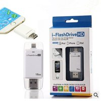 Wholesale Memory Usb 16g - i-Flash Driver Device HD U-dick Phone OTG Memory for iPhone 6 iPad for IOS Device 8G 16G 32G 64G