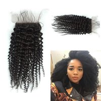 Wholesale G Queen - Mongolian Afro kinky curly Closure 4*4 Silk Base Closure Queen Style Hair Human Hair Silk Closures Free Middle 3 Part Closure G-EASY