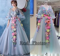 Wholesale Real Fairy Photos - Real Images Flower Fairy Long Sleeves Evening Dresses 2016 New Arrival Train Elegant Prom Gown V Neck Light Blue Special Occasion Dress