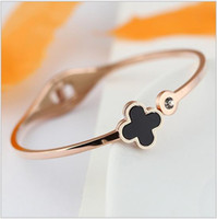 Wholesale Fine Lead Crystal - 2016 Best Seller Rhinestone Clover Bangle For Women 18K Real Gold Plated Fine Jewelry Nickel & Lead Free Fashion Indian Bangles