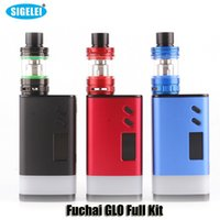 Wholesale Atomizers Led - 100% Original Sigelei Fuchai GLO Full Kit 230W TC VW Dual 18650 Battery Box Mod With Bottom LED Strip SLYDR M Atomizer