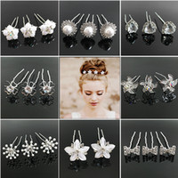 Wholesale Hair Accessories Crystal Bow - Hot Wedding Hair Accessories Pearl Flower Hair Barrettes Bridal Bridesmaid Hair Clips Hairpins White Red colors