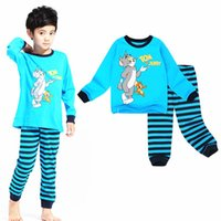 Wholesale Tom Jerry Pajamas Kids - 100% cotton cartoon Tom&Jerry children's pajamas kids long sleeve sleepwear pajama sets 2-7T Professional Store