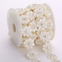 Wholesale sew applique beads - 5Yards 25mm Ivory Pearl And Rhinestone Chain Trims Sewing Costume Applique