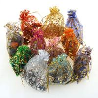 voile torbalar toptan satış-200 adet Desenler Lüks Organze Takı Çanta Noel Düğün Vual Hediye Çantası İpli Takı Ambalaj Hediye Kılıfı 7 * 9 cm